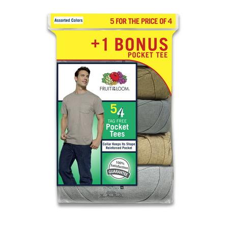 Men's Assorted Color Pocket T-Shirts, 4+1 Bonus Pack