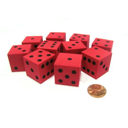 Large Foam Dice (Koplow Games Set of 10 D6 Large 25mm Foam Dice - Red with Black Spots)