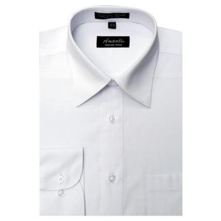 Amanti CL1003-15x34-35 Amanti Mens Wrinkle Free Solid White Dress Shirt - White-15 x 34-35