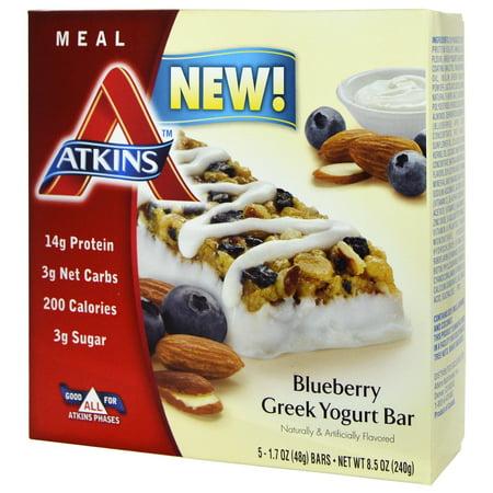 Atkins, Greek Yogurt Bar, Blueberry, 5 Bars, 1.7 oz (48 g) Each(pack of 2)