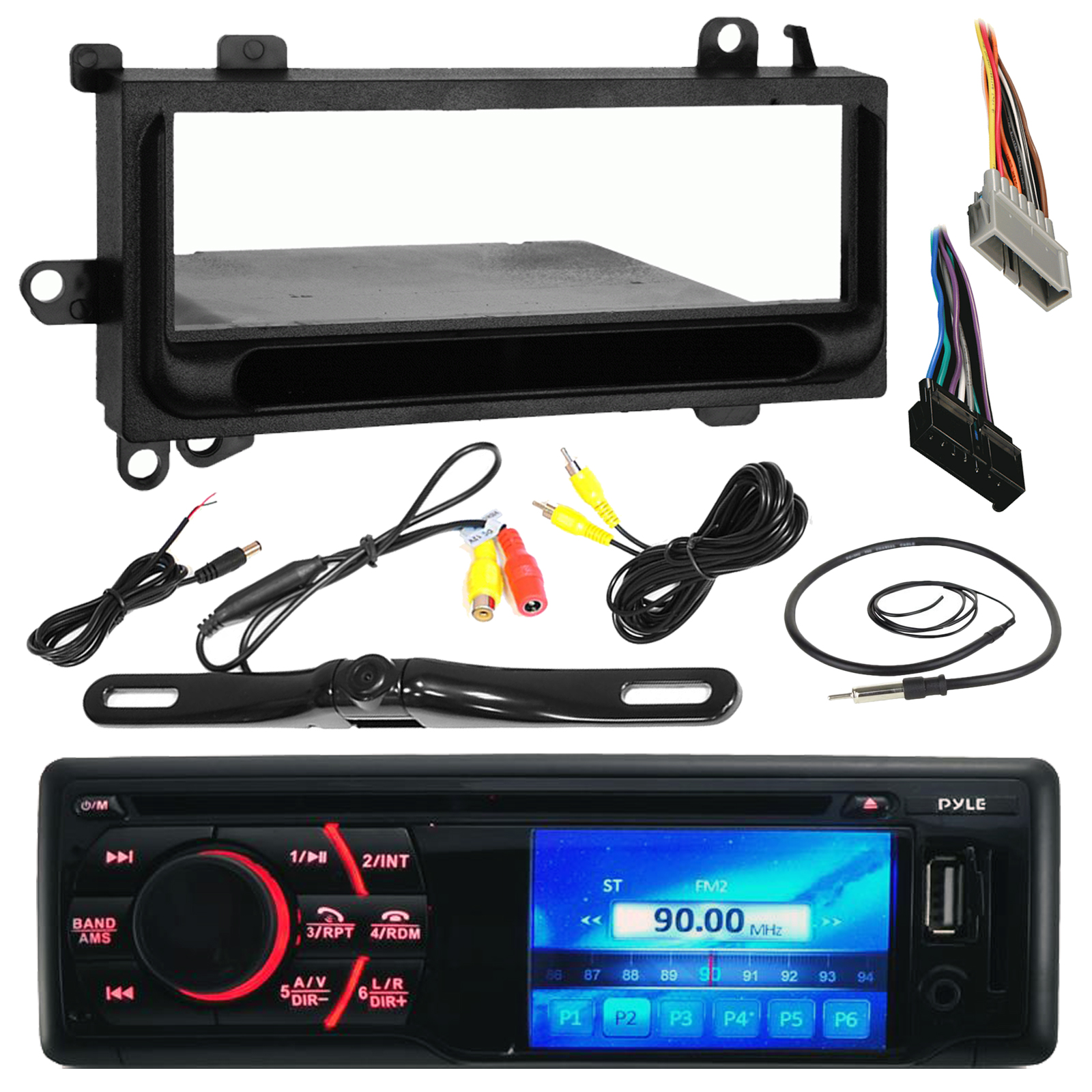 pyle pld34mub 3'' lcd cd am/fm bluetooth receiver bundle