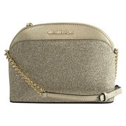 NEW MICHAEL KORS EMMY SMALL DOME SATCHEL PALE GOLD GLITTER LEATHER BAG CROSSBODY