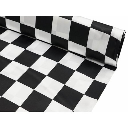 Efavormart 54 inch x 10 yards Black and White Checkerboard Satin Fabric Roll](Black And White Checkered Flag Fabric)