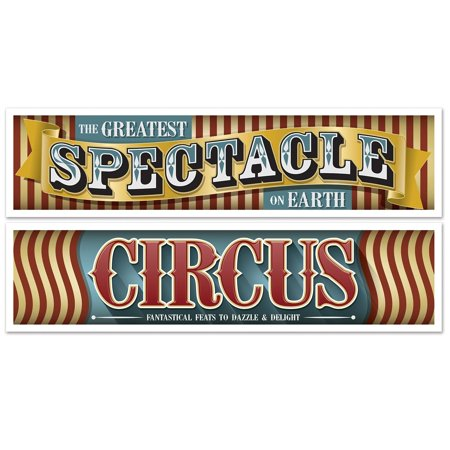 Club Pack of 12 Decorative Vintage Circus Themed Party Wall Banners - Circus Themed Accessories