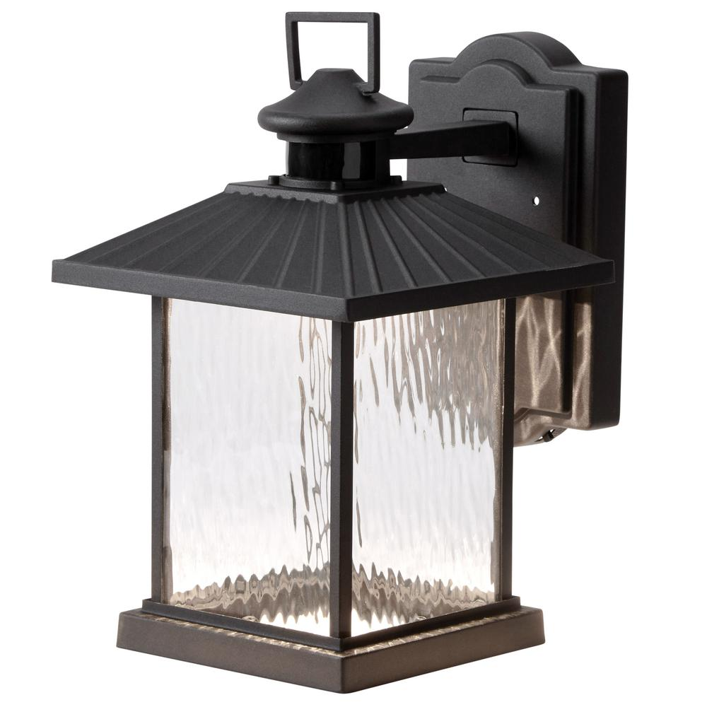 Elegant Hampton Bay Lumsden Wall Mount Outdoor Black LED Motion Sensor Lantern    Walmart.com