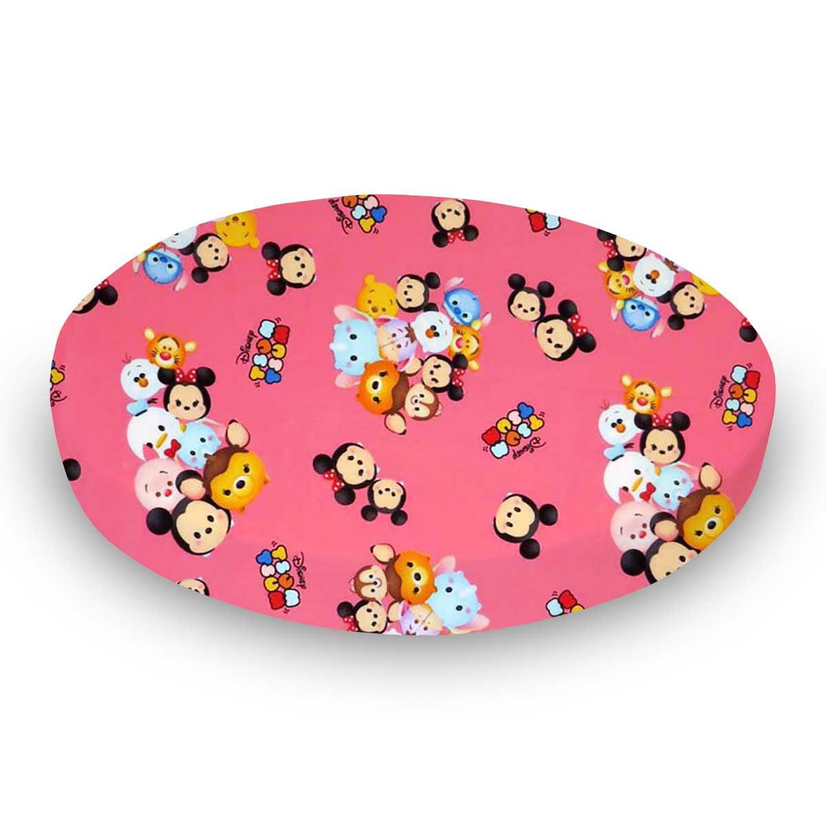 SheetWorld Fitted Oval Crib Sheet (Stokke Sleepi) - Tsum Tsum Pink