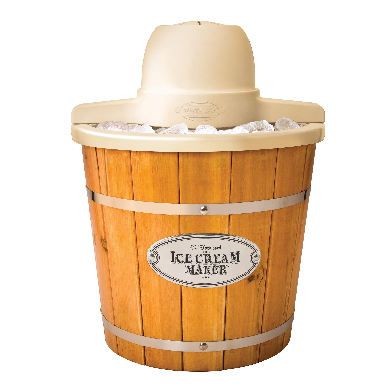 Nostalgia Wooden Electric Ice Cream & Frozen Yogurt Maker, 4-Quart