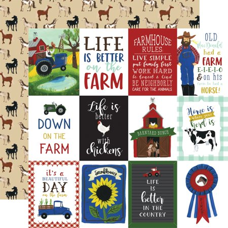 """Down On The Farm Double-Sided Cardstock 12""""X12""""-3""""X4"""" Journaling Cards"""