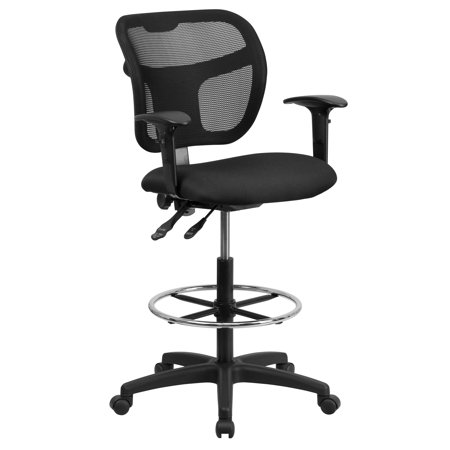 A Line Furniture Black Fabric Seat and Chrome Adjustable Foot Ring Office Drafting Chair