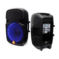 """Mr. Dj PBX2159LB 12"""" 2-Way Portable Speaker with LED Accent Lighting, Built-In Bluetooth/USB/SD Card"""