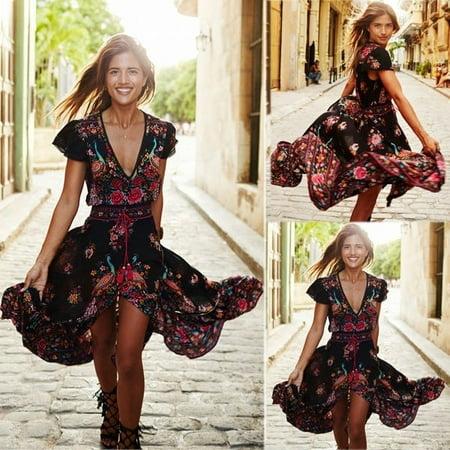 Women Summer V Neck Vintage Boho Long Maxi Dress Party Beach Gown Floral Sundress Bohemian Dress