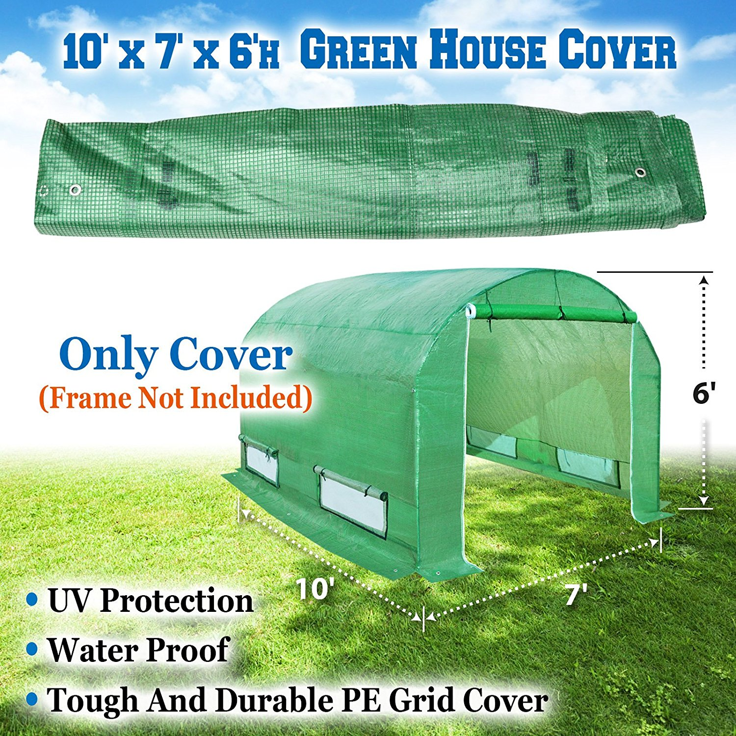 BenefitUSA Green House Replacement Spare Parts for 10'X7'X6'H Walk In Outdoor Plant Gardening Greenhouse (cover) by Sunny Outdoor Inc