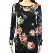 Karen Kane NEW Black Women's Size XS Long-Sleeve Abstract Floral Print Knit Top