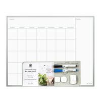 """U Brands Magnetic Dry Erase Calendar Board, 16"""" x 20"""", Silver, 735U"""