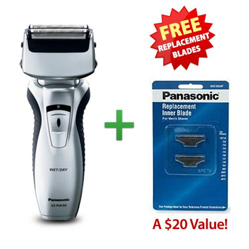 Panasonic ESRW30S Mens Pivoting Head Wet / Dry Shaver With Free Replacement Blades