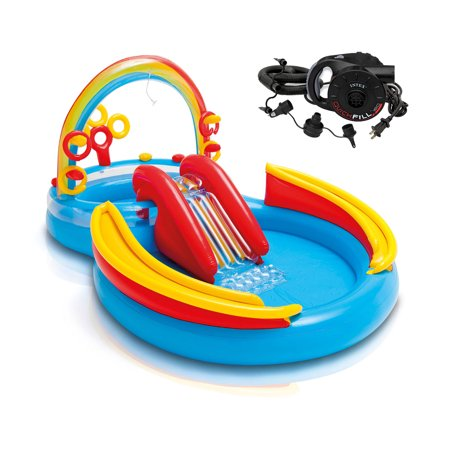 Rainbow Accents Cruiser Center - Intex Inflatable Pool Water Play Rainbow Ring Center Slide w/ Electric Air Pump