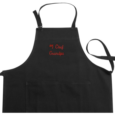 Personalized Any Message Embroidered Black Apron, Available In Different Fonts