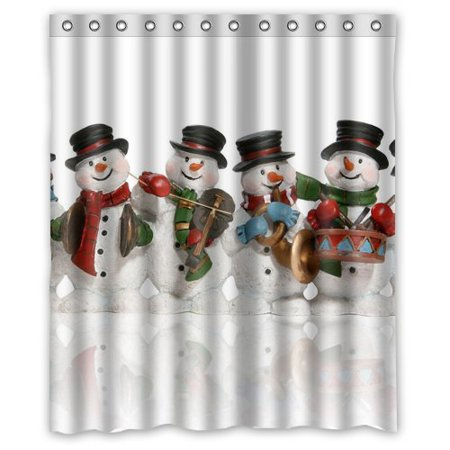 GreenDecor Best Winter Snowman Waterproof Shower Curtain Set with Hooks Bathroom Accessories Size 60x72