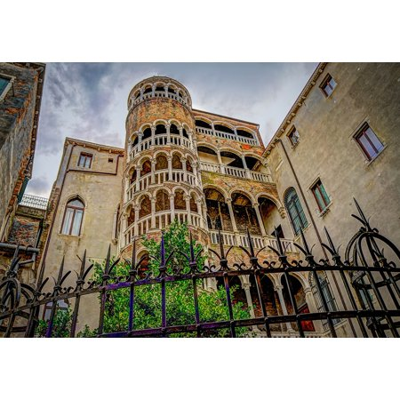 Corkscrew Prints (Peel-n-Stick Poster of Italy Spiral Staircase Venice Corkscrew Stairs Poster 24x16 Adhesive Sticker Poster Print)