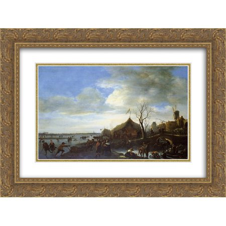 Jan Steen 2X Matted 24X20 Gold Ornate Framed Art Print Winter Landscape
