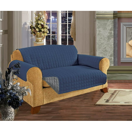 Cotton Loveseat - Elegant Comfort QUILTED REVERSIBLE FURNITURE PROTECTOR for Pet Dog Children Kids -2 TIES TO STOP SLIPPING OFF Treatment Microfiber As soft as Egyptian Cotton, Navy Blue Love Seat