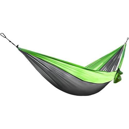 Active Authority X28-Green/Grey Portable Double Hammocks Ultralight Nylon Parachute Hammock for Light Travel Backpacking Camping, Ropes & Steel Carabiners Included