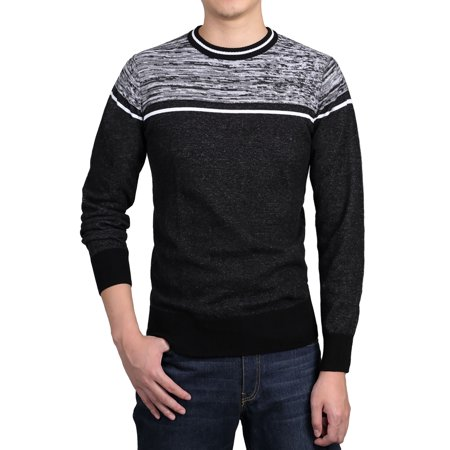 Men Ribbed Trims Knitted Sweaters Crew Neck Spliced Stripes Pullover ()