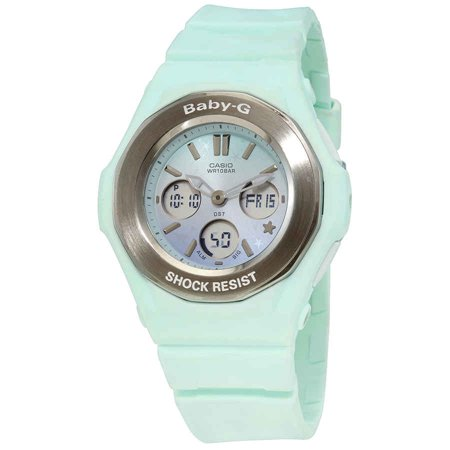 Casio Baby-G Perpetual Alarm Chronograph Quartz Analog-Digital Green Dial Ladies Watch BGA-100ST-3ADR