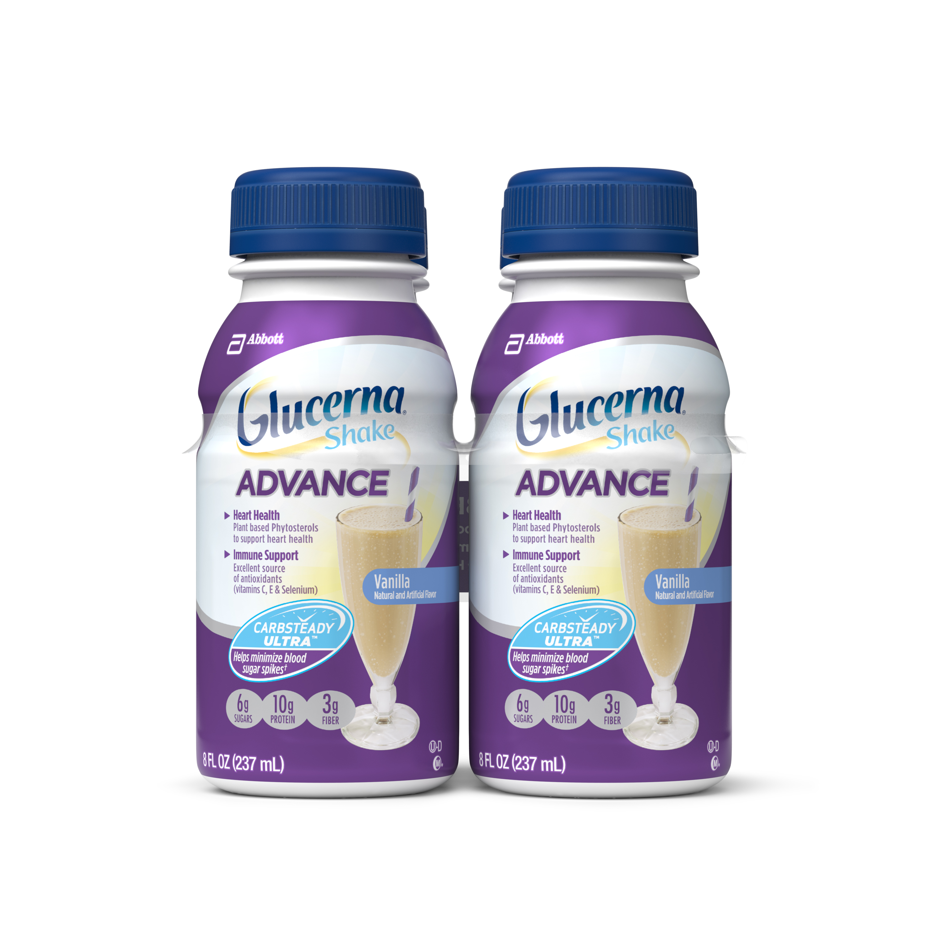 Glucerna Advance Shake, Vanilla, 8 fl oz (Pack of 4)
