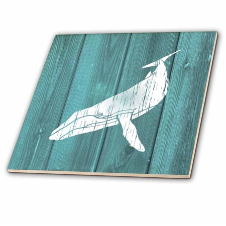 3dRose Humpback Whale Stencil in Faded White Paint over Teal- not real wood - Ceramic Tile,