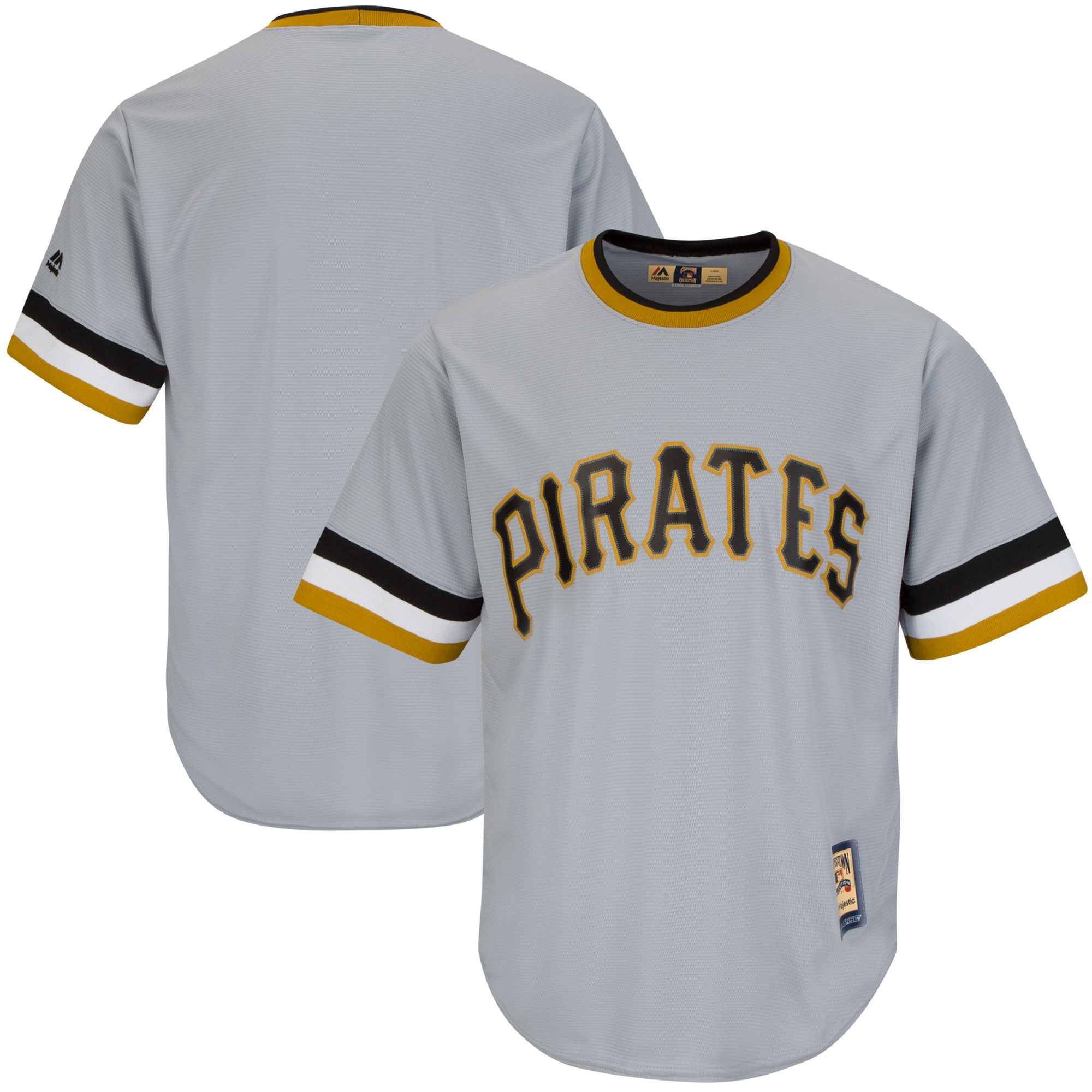 Pittsburgh Pirates Majestic Big & Tall Cooperstown Cool Base Jersey Gray by Profile