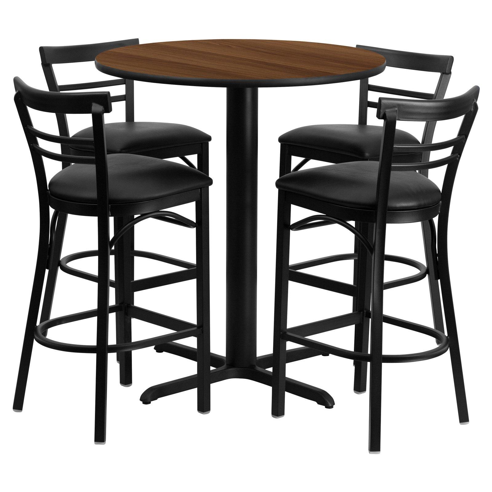 Flash Furniture 24'' Round Walnut Laminate Table Set with 4 Ladder Back Metal Barstools, Black Vinyl Seat Black, Walnut