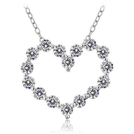 "Sterling Silver Platinum-Plated 100-Facet CZ Heart Pendant, 18"""