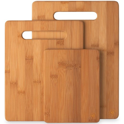 Bamboo Cutting Board 3-Piece Set of 100% Natural Bamboo Cutting Boards By Bambüsi By Belmint by