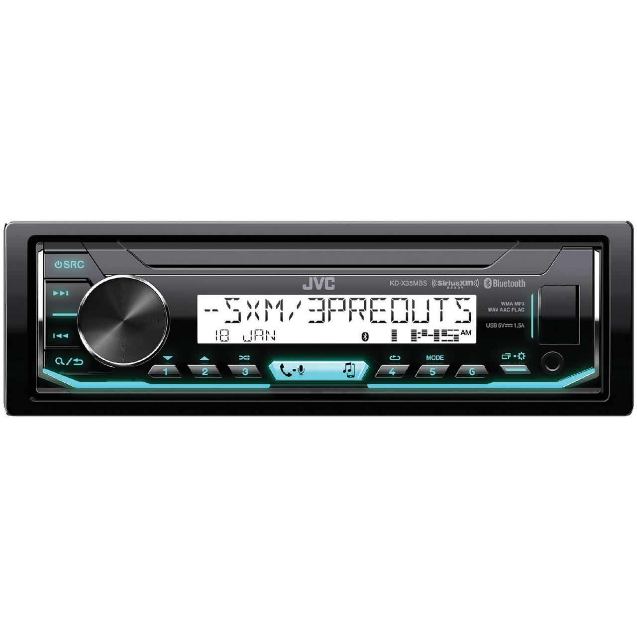 JVC Mobile KD-X35MBS Marine/Motorsports Single-DIN In-Dash AM/FM Digital Media Receiver with Bluetooth & SiriusXM Ready