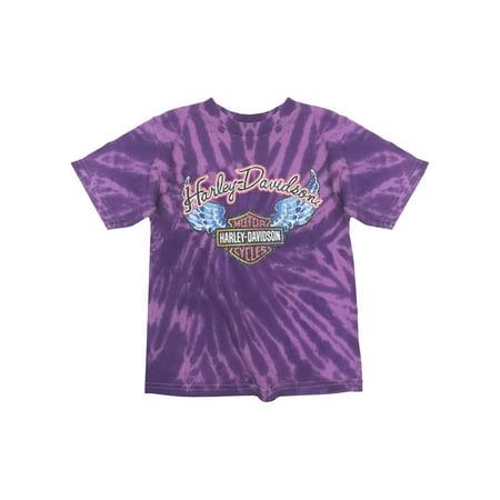 Harley-Davidson Little Girls' Glitter Wings Swirl Tie-Dye Tee, Purple 1530731, Harley Davidson - Girl With Harley