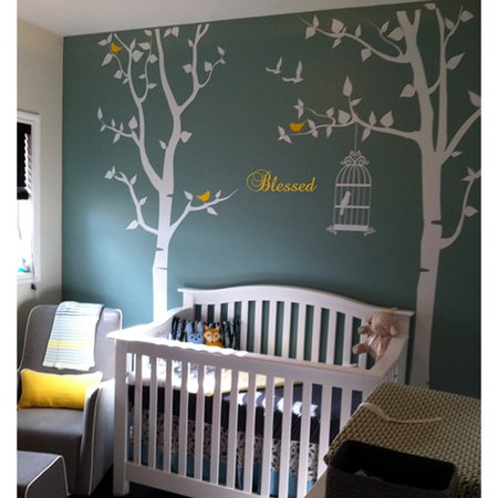 Pop Decors Nursery Trees With Bless Wall Decal