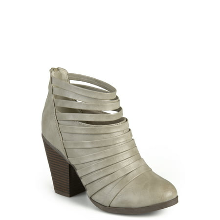 - Brinley Co. Womens Strappy Faux Leather Chunky Heel Booties
