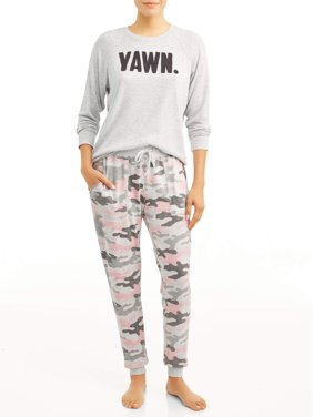 Secret Treasures Women's and Women's Plus 2-Piece Hacci Long Sleeve Top and Jogger Sleep Pant