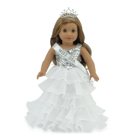 - Emily Rose 18 Inch Doll Clothes | Ball Gown Pageant Doll Dress with Miss USA-Inspired Sash and Sparkling Crown! | Fits American Girl Dolls
