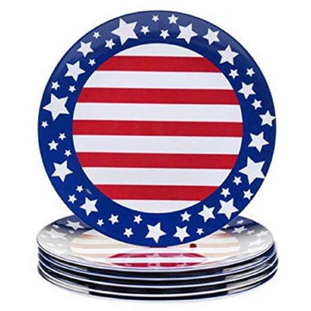 Melamine Dinnerware Set Red White Blue Stars Stripes Indoor Outdoor Service For 6 4th Of July Summer Bb Picnic Patio