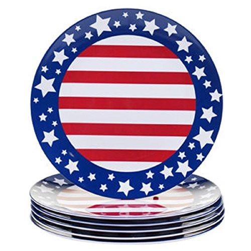 Melamine Dinnerware Set Red White U0026 Blue Stars U0026 Stripes Indoor/Outdoor  Service For 6