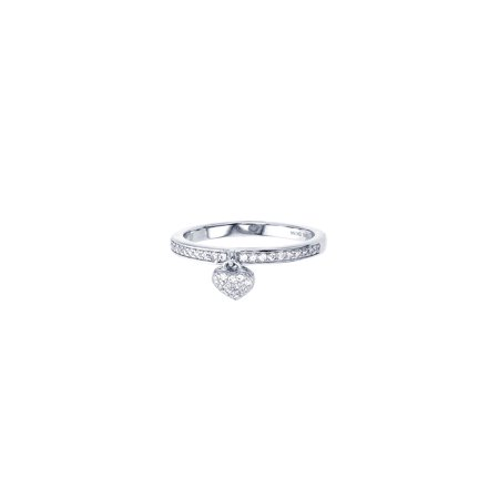 - ZilverZoom Sterling Silver Rhodium Plated Band w Heart Charm Dangle CZ Ring