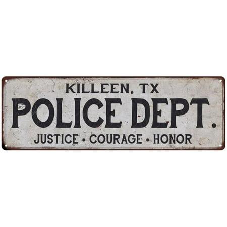 KILLEEN, TX POLICE DEPT. Home Decor Metal Sign Gift 6x18 206180012176
