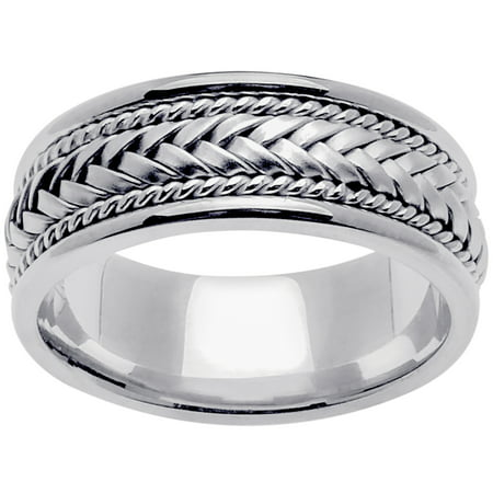 14K White Gold Basket Braid Handmade Comfort Fit Women