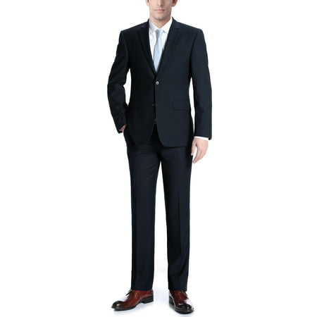 Albani Mens Dark Navy Classic Fit Italian Styled Two Piece Suit