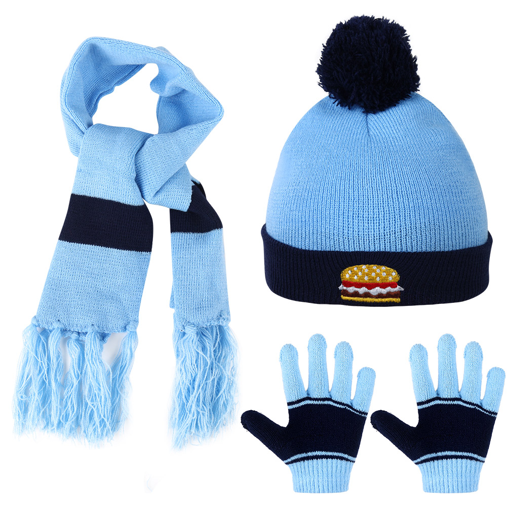 Vbiger Kids Winter Knitted Set Knitted Hat Scarf Gloves for Boys Girls, Blue, 3 Pieces