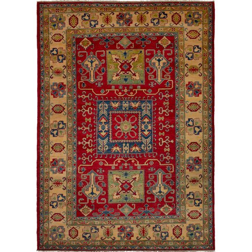 Isabelline One Of A Kind Dollar Hand Knotted 6 7 X 9 9 Wool Red