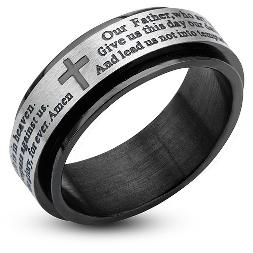 Steel Art Men's Stainless Steel Black IP Prayer Spinner Ring