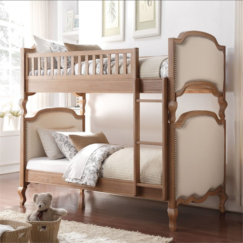 ACME Charlton Twin over Twin Bunk Bed in Cream Linen & Salvage Oak